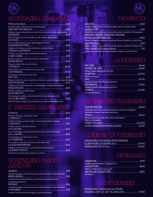 carte des boissons resto club sam's klub bandol